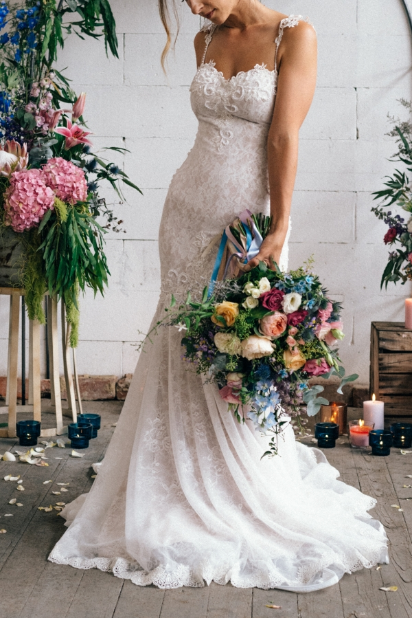 Bright Wedding Bouquet With Pastels