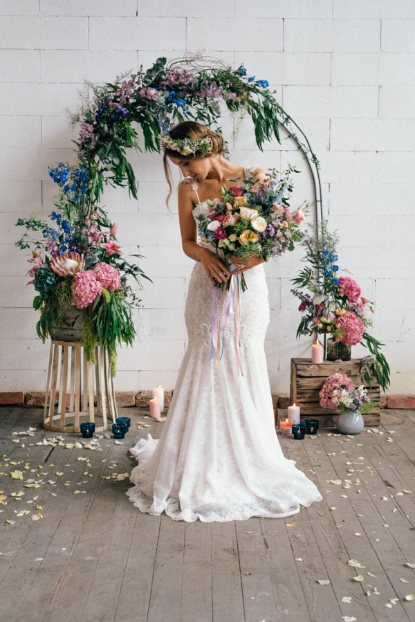 Industrial Wedding Inspiration with Pastel Floral Arch