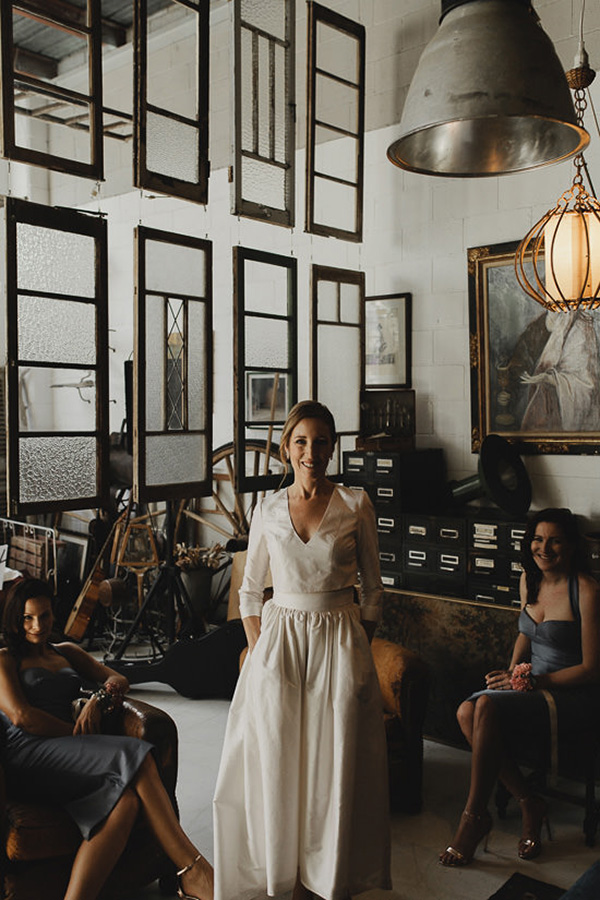 Bride In Modern Long Sleeve Wedding Dress