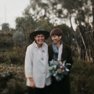 Intimate Australian bush same sex wedding