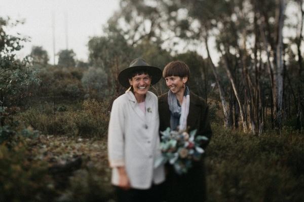 Intimate Australian bush same sex wedding