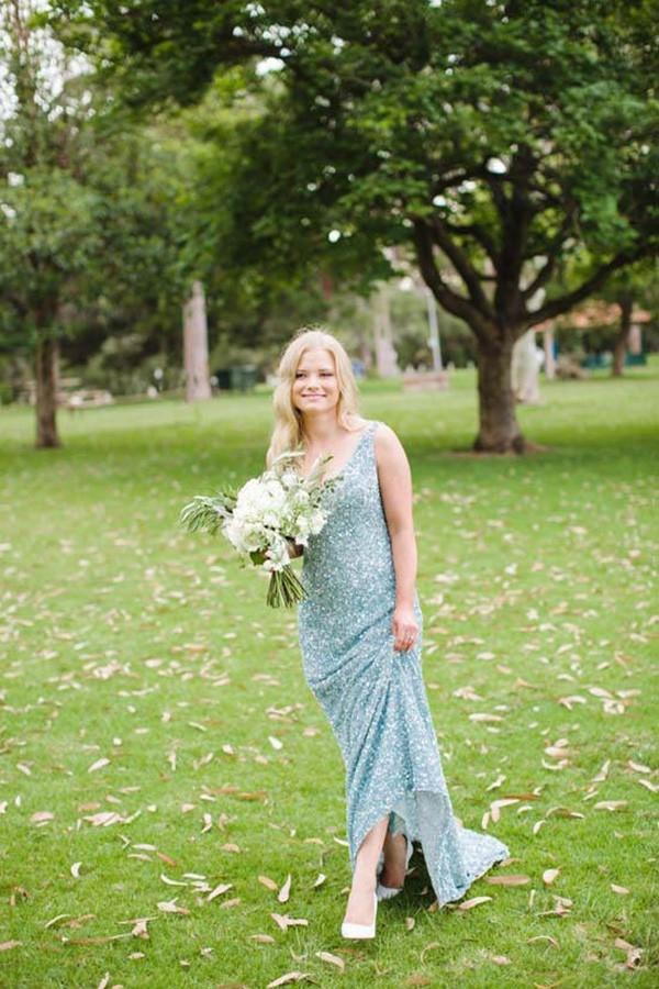 Sequin Blue Wedding Dress