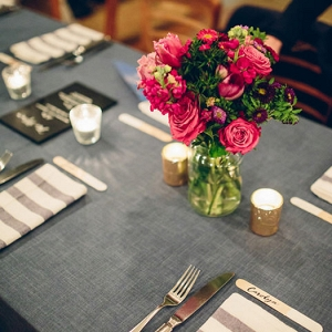 Blue Table Linens With Pink