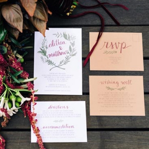 Marsala And Kraft Wedding Invitations