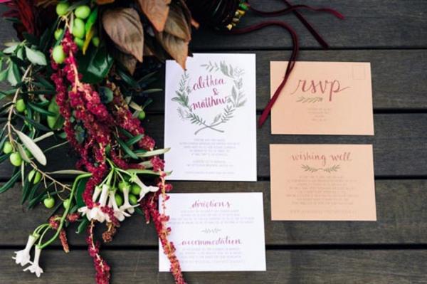 Marsala And Kraft Wedding Invitations