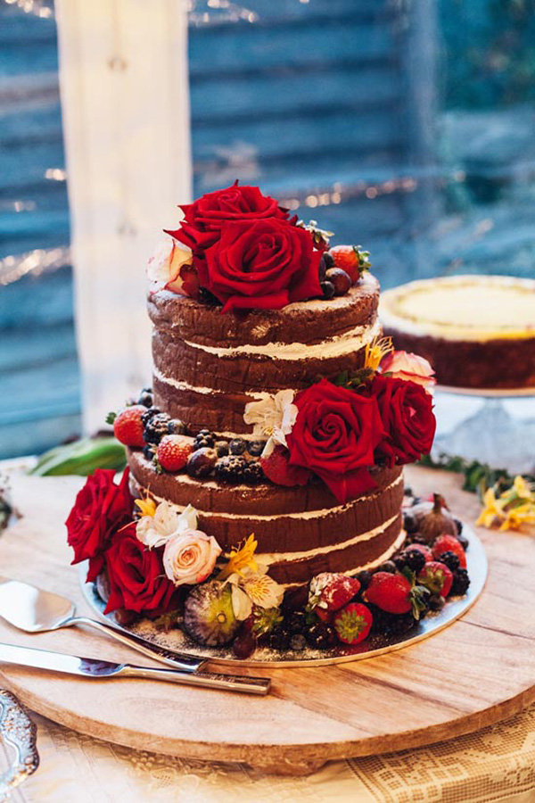 Naked Wedding Cake With Red Roses