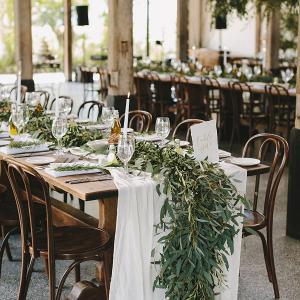Organic wedding reception decor