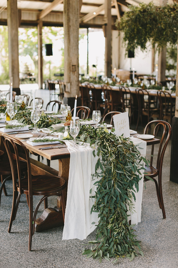 Organic wedding reception decor