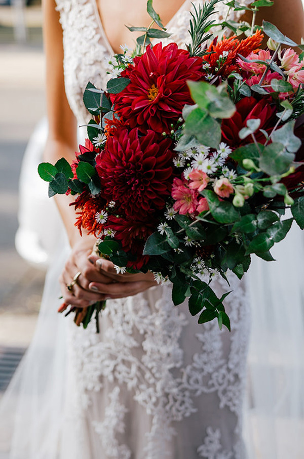 Red Dahlia Bouquet