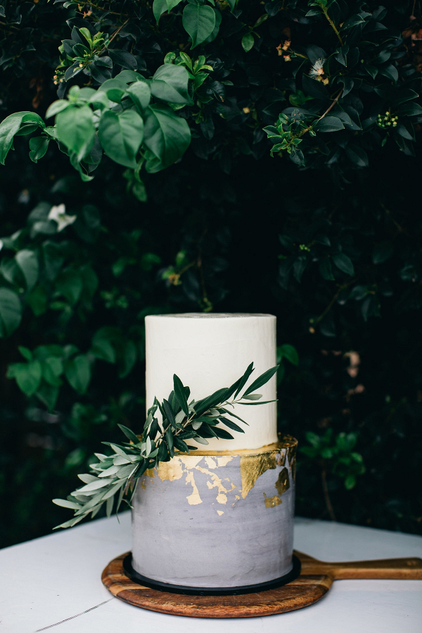 Gold leaf wedding cake