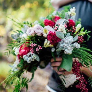 Bright Bouquet With Roses And Dusty Miller