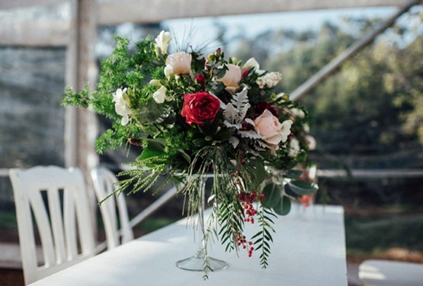 Floral Arrangement With Red & Pink Flowers