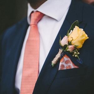 Coral Grooms Tie