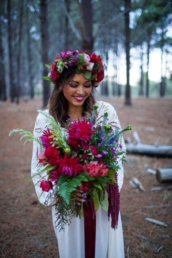 Bohemian Bride With Ruby Red Bouquet