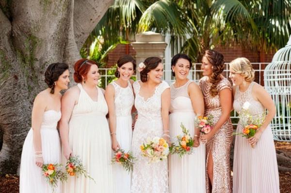 Bride & Bridesmaids In Peach Dresses