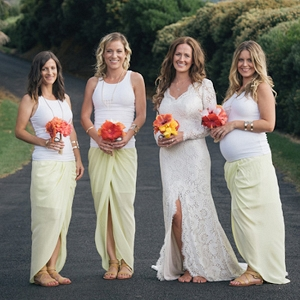Bridesmaids In White And Pale Yellow