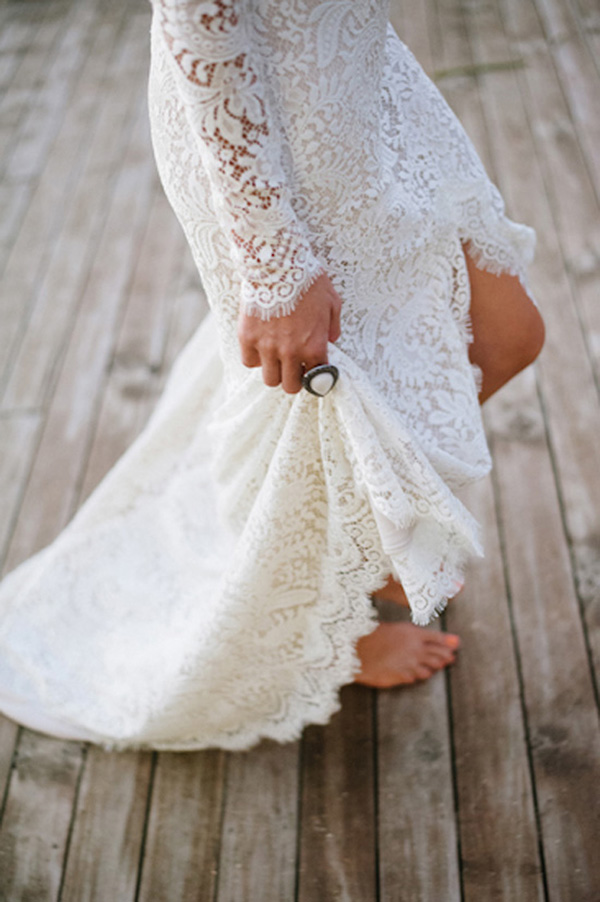 Bride Wearing Long Sleeve Lace Gown