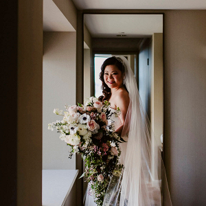 Bride with cascading bouquet