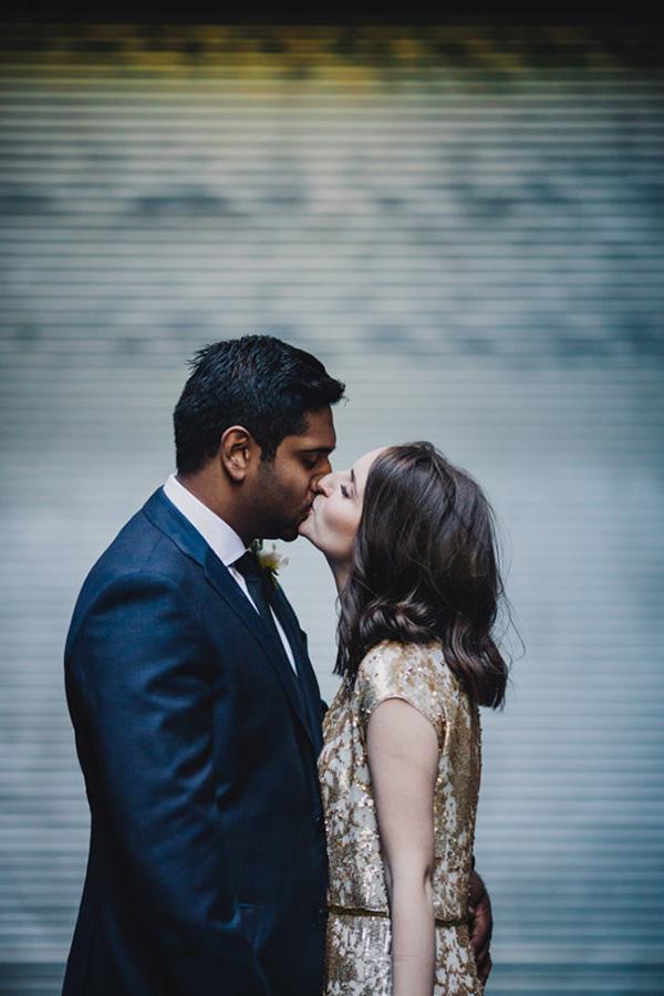 Newlyweds In Urban Setting