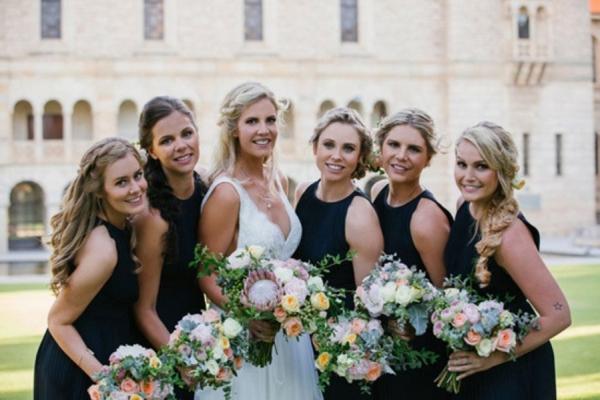 Bride And Bridesmaids In Navy