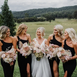 One shoulder black bridesmaid dresses