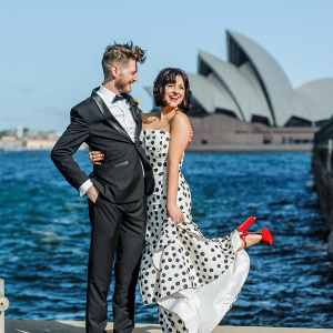 Bride in polka dot wedding dress