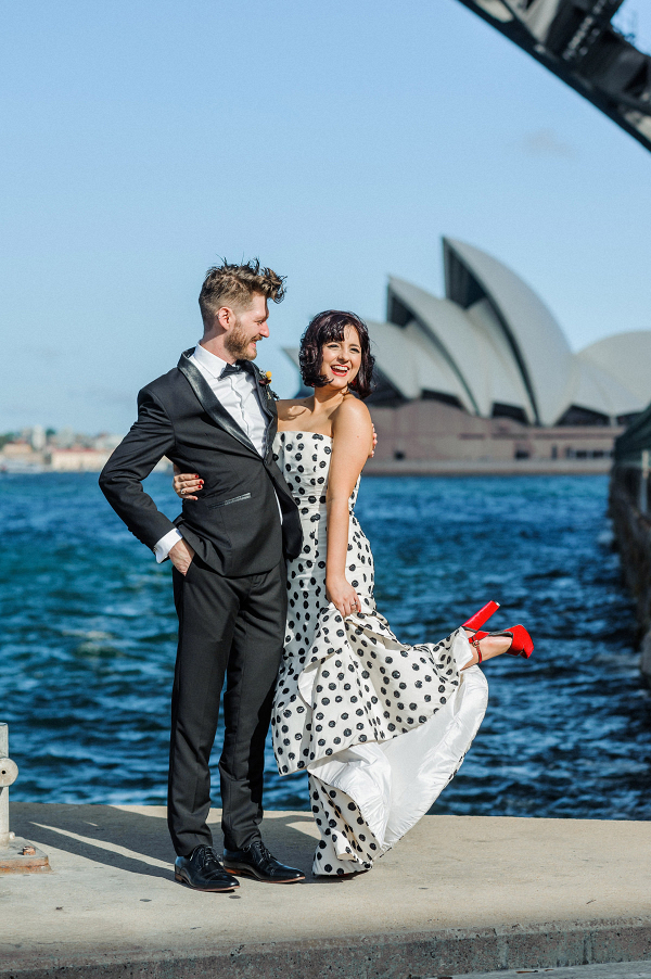 Bride in polka dot wedding dress