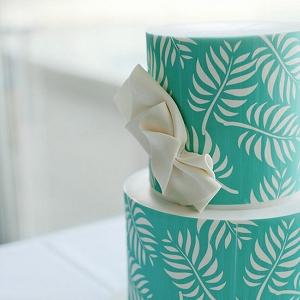 Aqua Pattern Wedding Cake