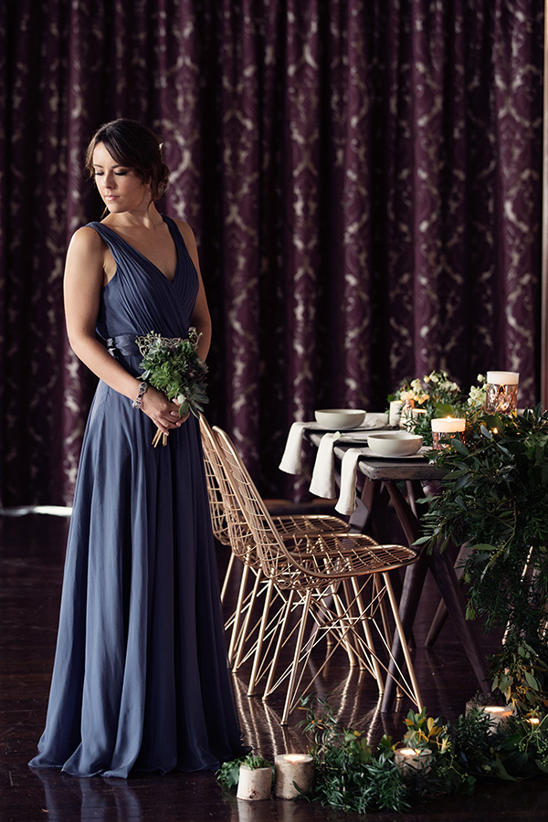 Bridesmaid In Slate Blue