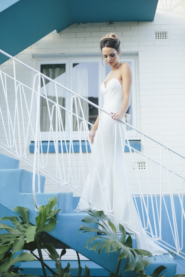 Bride On Mod Staircase