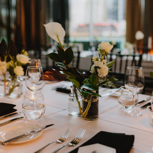 Modern black and white wedding tablescape
