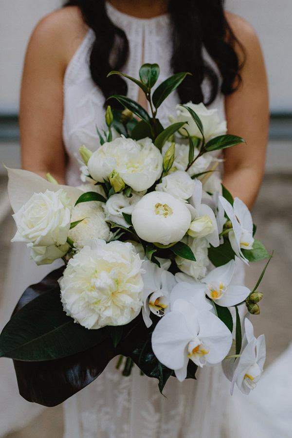 Tropical white bridal bouquet