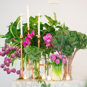 Brass Candlesticks With Orchid Flowers