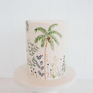 Tropical painted wedding cake