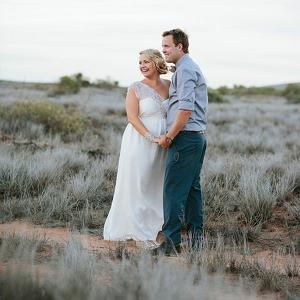 Romantic Couple At Desert Wedding