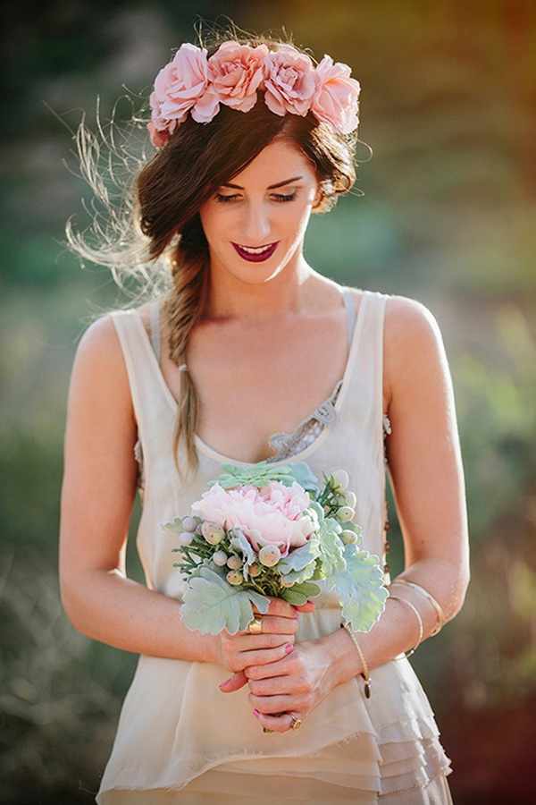 Bridesmaid With Pink Floral Crown