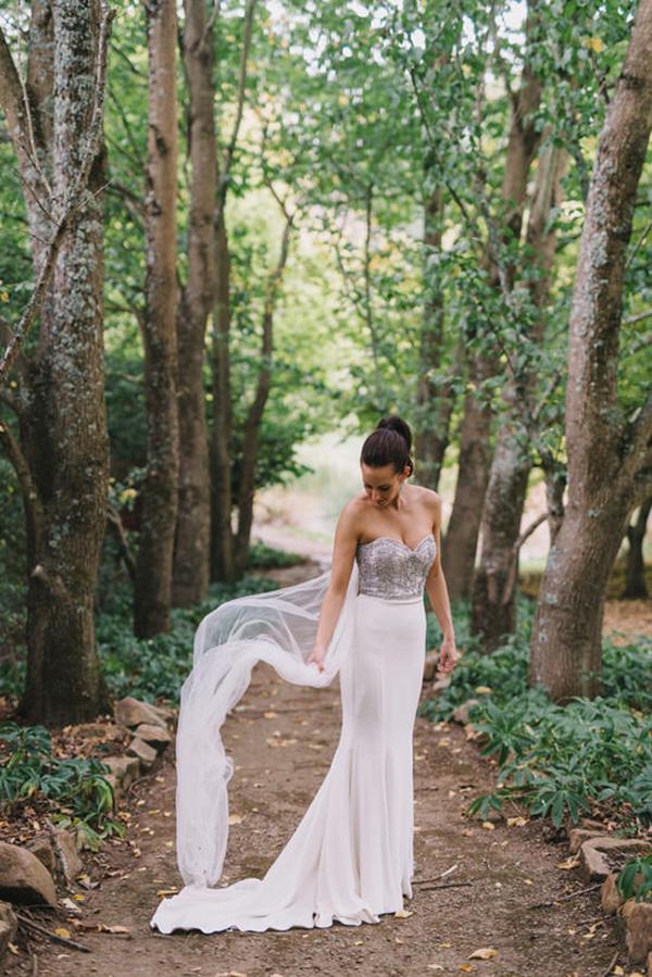 Bride In Wedding Dress With Silver Bodice