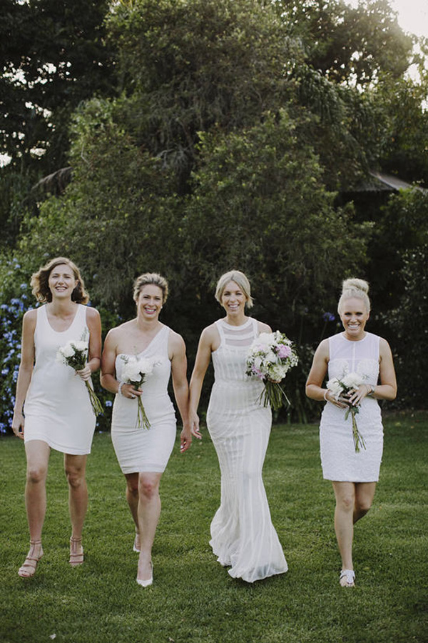 Bridesmaids In Mismatched White Dresses