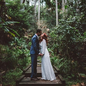 Newlyweds In Coastal Forest