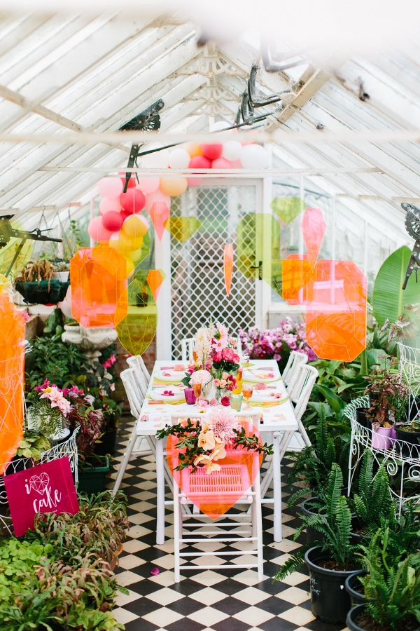 Neon Wedding In Greenhouse