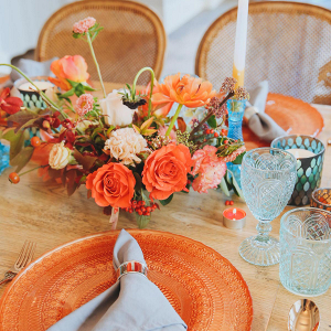 Blue and orange tablescape