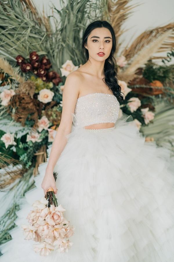 Modern bride in sequin bridal separates
