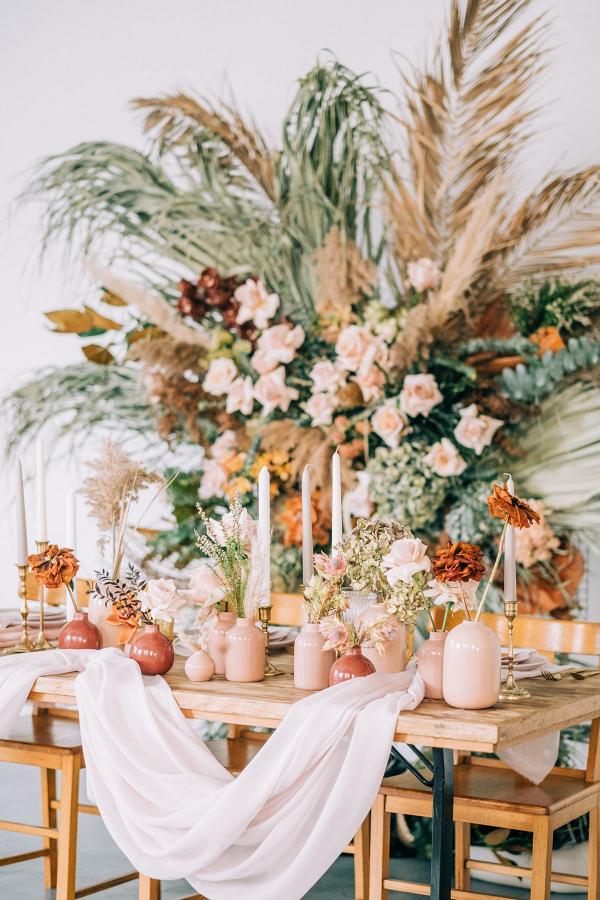Modern boho blush and orange wedding table