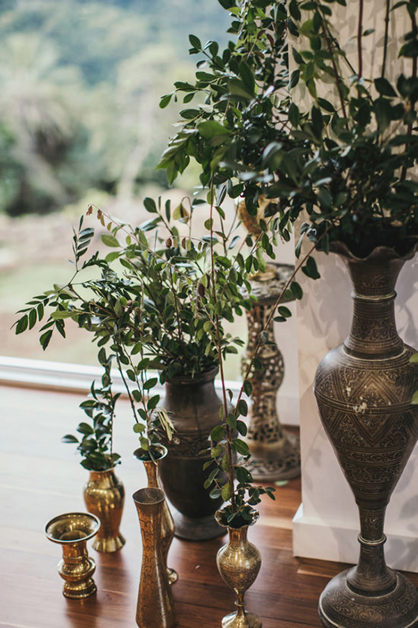 Brass Vases With Greenery