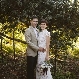 Modern farm wedding portrait