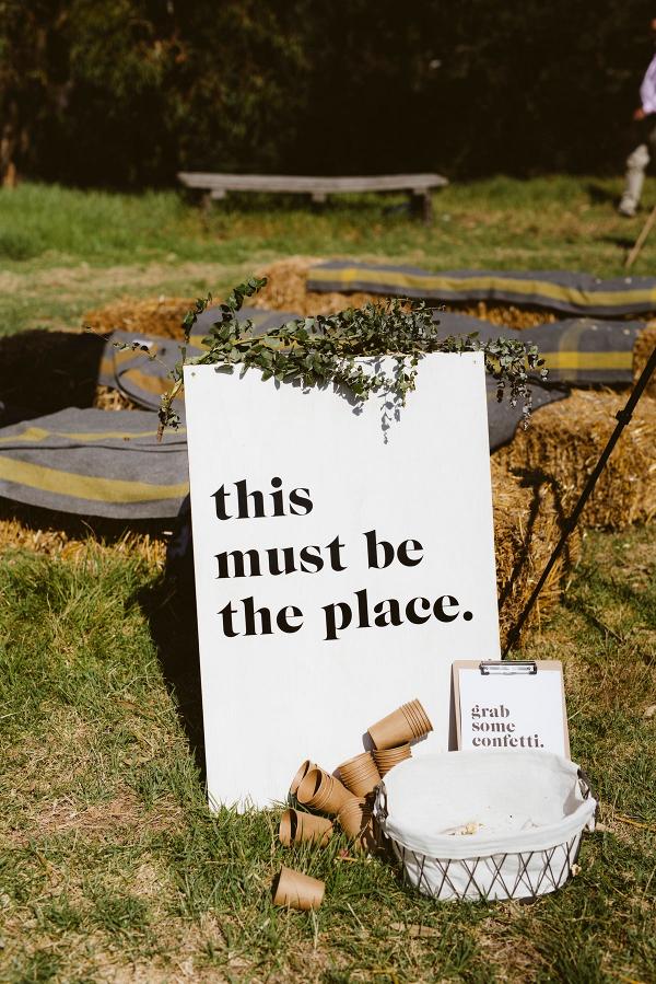 Modern wedding signage