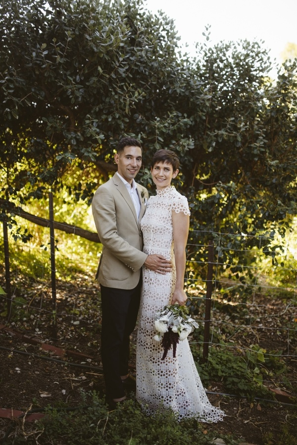 Modern farm wedding portrait
