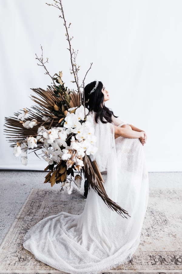 Bridal portrait with neutral florals