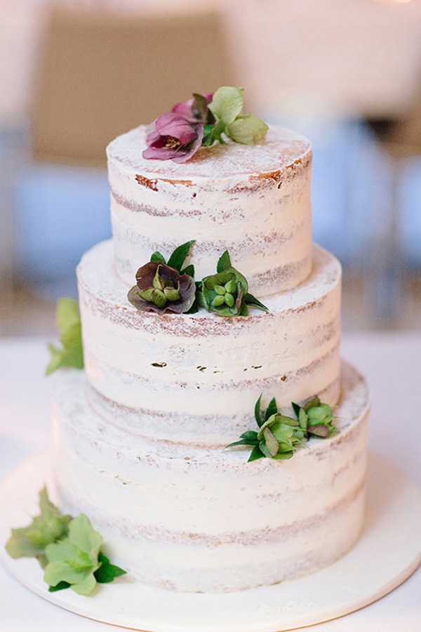Semi Naked Wedding Cake With Succulents