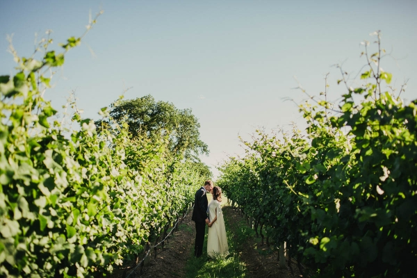 Happy Newlyweds In Vineyard